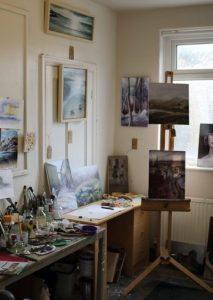 Artist materials and easel